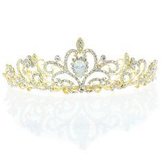 52.99$  Watch now - http://vilef.justgood.pw/vig/item.php?t=oh9hjn33952 - Kate Marie 'Osie' Rhinestone Crown Tiara Headband in Gold 52.99$