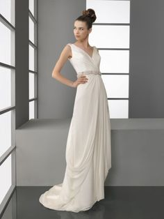 NO.02570672012 style aline vneck rhinestone sleeveless sweep brush train satin wedding dresses brides