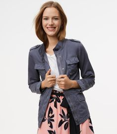 Primary Image of Sateen Utility Jacket - army green would be ideal but still love this!