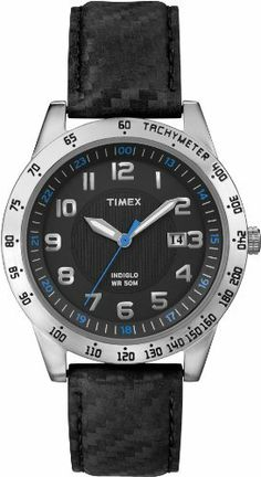 Timex Men's T2N920 Elevated Classics Silver-Tone Case Carbon Texture Leather Watch Timex. $34.23. Quartz movement. Water resistant to 50 M. Brass case with black dial and full Arabic numerals. Indiglo night-light. Mineral crystal