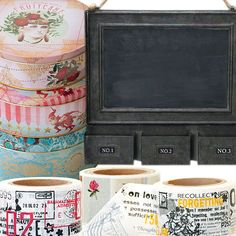 Washi tape galore, rustic and chic chalkboard, retro holiday tins, oh my!