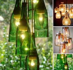 Recycled Wine Bottle Chandelier- perfect for outside entertaining! I think this would look awesome with either all clear wine bottled or mixed colors Recycled Wine Bottles, Wine Bottle Art, Lighted Wine Bottles, Bottle Lights, Wine Bottle Crafts, Bottles And Jars, Recycled Glass, Glass Bottles, Jar Lights