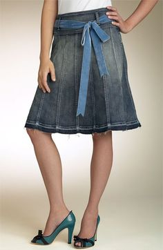 Blue Waterfall Long Denim Skirt # PE-0574 | 98, Skirts and Fringes