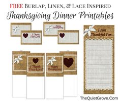 I have created these fun Burlap, linen & Lace Inspired Thanksgiving Dinner Printables which I am all to happy to share with you. Halloween Party Favors, Halloween Treat Bags, Printable Banner, Party Printables, Diy Arts And Crafts, Diy Crafts, Fun At Work, Thanksgiving Decorations, Holiday Parties