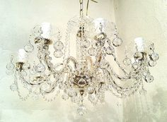 Crystal chandelier from our shop cz1 by tiquelight on Etsy, $675.00
