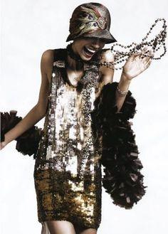 Sequin flapper dress via so in fashion feather boa 1920s flapper