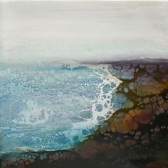 I like this a lot. Looks like a shoreline. Alicia Tormey Encaustic with shellac burn technique