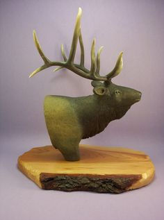Rocky Mountain Elk wood carving OOAK wildlife sculpture art animal figurine taxidermy style hand made in Wisconsin by Old Bear Woodcarving