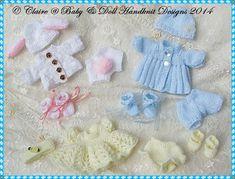 Babydoll Handknit Designs Knitting Patterns Cbsc For 5 & Berenguer Dolls Knitting Dolls Clothes, Baby Doll Clothes, Crochet Doll Clothes, Knitted Dolls, Doll Clothes Patterns, Doll Patterns, Crochet Toys, Crochet Baby, Baby Dolls