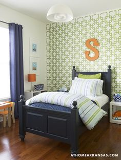 At Home in Arkansas - boys rooms - Large Modern Linked Wall Stencil, green, geometric, pattern, walls, navy, blue, grommet, drapes, navy blue, wood, twin, bed, green, blue, striped, bedding, white, cube, table, wall stencil, geometric wall stencil, green wall stencil, green geometric wall stencil,