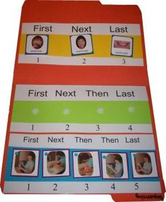 3-5 Step Sequencing Board: File folder game with three sequencing strips for 3-, 4-, and 5- step sequences. by juliette