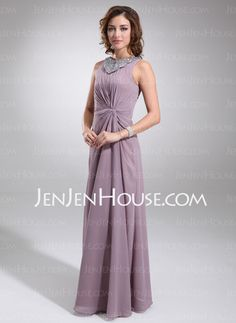 Mother of the Bride Dresses - $133.29 - A-Line/Princess Scoop Neck Floor-Length Chiffon  Charmeuse Mother of the Bride Dresses With Ruffle  Beading (008006217) http://jenjenhouse.com/A-line-Princess-Scoop-Neck-Floor-length-Chiffon--Charmeuse-Mother-Of-The-Bride-Dresses-With-Ruffle--Beading-008006217-g6217
