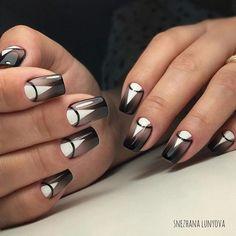 Black and white nail art, Black and white nail ideas, Black dress nails, Evening dress nails, Geometric nails