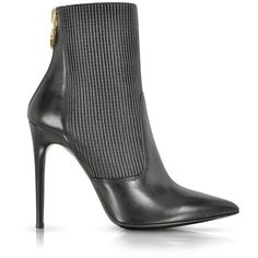 Loriblu Black Leather Ankle Bootie Ribbed Stretch Insert €520 Fall 2014 #Shoes #Heels #Loriblu