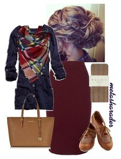 """""""Fall Work Outfit"""" by metasharader ❤ liked on Polyvore featuring Roland Mouret, American Eagle Outfitters, Falke, Michael Kors, Fall, Modest, teacher and pentecostal"""