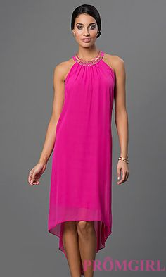 Fuchsia High Low Shift Dress with Back Cut Outs at PromGirl.com