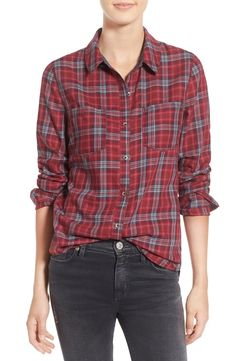 Transitioning effortlessly from season to season in this casual yet cute plaid shirt that pairs perfectly with distressed denim.