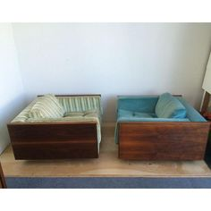 Image of Walnut Cube Club Chairs - A Pair $1500