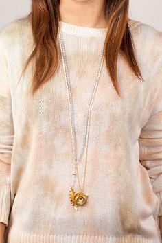 Periwinkle Crystal Leaf Pendant Necklace - Chan Luu