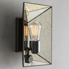 Faceted Mirror Sconce	  These mirror sconces would look stunning on either side of a vanity and mirror. The antique details add a feminine touch to the linear shape.