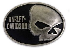 Harley-Davidson Men's Antique Willie G Skull Font Belt Buckle HDMBU10071 #HarleyDavidson #Casual