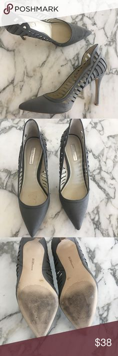 "Gray BCBGeneration Heels Gray BCBGENERATION high heels in stunning condition. Only worn about 3 times. Cutouts along the side give them amazing added detail. Perfect for dressing up a pair of jeans or for a night out. Heel is approximately 5"". BCBGeneration Shoes Heels"
