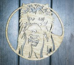 Handmade wooden custom stained Fret  Yorkie wall plaque - $45.00 - Handmade Home Decor, Crafts and Unique Gifts by Toms Crafts