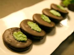Get Dark Chocolate-Mint Shortbread with Crystallized Mint Cookies Recipe from Cooking Channel