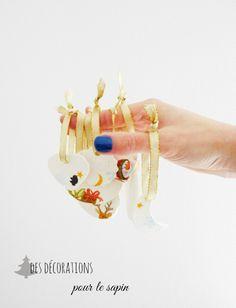 Idées pour créer des décorations pour votre sapin de Noël avec de la pâte à modeler ultra légère qui sèche à l'air et de serviettes décopatch www.blackconfetti.fr