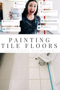 DIY: How to Paint Ceramic Floor Tile — Farmhouse Living Painting Ceramic Tile Floor, Tile Floor Diy, Painting Tile Floors, Painted Floors, Diy Painting, Painting Bathroom Tiles, Floor Art, Beach House Tour, Diy Flooring