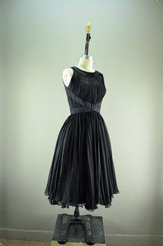 1950s chiffon party dress 50s black formal size by melsvanity, $178.00