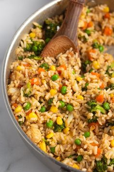 Simple veggie fried rice made with miso paste and other delicious ingredients. This fried rice is egg-free, vegan, and so tasty! Vegan Meal Prep, Vegan Dinner Recipes, Delicious Vegan Recipes, Vegan Dinners, Rice Recipes, Lunch Recipes, Whole Food Recipes, Vegetarian Recipes, Healthy Recipes