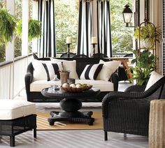 ~Love the black wicker & this totally gives me my vision for back covered porch.  *