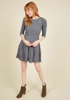 Warm Cider Dress in Ash. For a festive evening, complete with a crackling fireplace, joyful tunes, and hot cups of spiced apple cider, youve prepared yourself in this chic and cozy sweater dress! #grey #modcloth