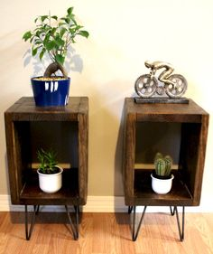 Pair Of End Tables Side Reclaimed Wood Night Stands Plant Entry Hairpin Legs