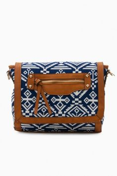 Tribe Vibe Satchel in Blue, White, and Cognac