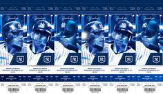 New York Yankees Tickets on Behance New York Yankees Tickets, Ticket Design, Season Ticket, Sports Graphics, Miami Marlins, Sports Baseball, Graphic Prints, Kansas City, Royals
