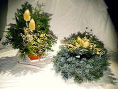 Sada: miska přírodní, věnec ze stříbrného smrku   set: nature bowl, whreath made of silver spruce