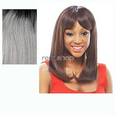 Janet Premium Synthetic Fiber Wigs Sora - Color OET1B/SILVER - Synthetic (Curling Iron Safe) Regular Wig