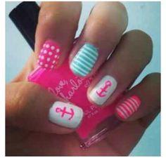 Girlie sailor theme nails