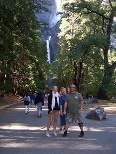 L-R, Suri, Carol & Robb with Lower Yosemite Falls in background.  Jun 2012, Yosemite Natn'l Park, CA
