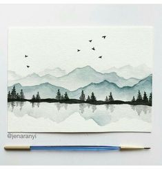 To paint - Aquarell - Mountains Watercolor Painting Techniques, Watercolour Painting, Painting & Drawing, Watercolors, Painting Inspiration, Art Inspo, Art Drawings, Art Projects, Canvas Art