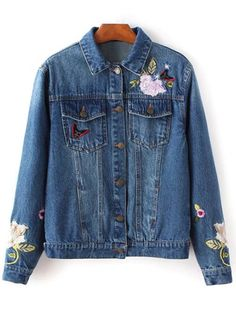 SHARE & Get it FREE | Dark Wash Floral Embroidered Jean JacketFor Fashion Lovers only:80,000+ Items • New Arrivals Daily Join Zaful: Get YOUR $50 NOW!