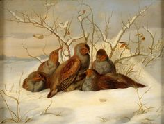Guido Hammer (1821-1898) - Partridges in the snow, oil on canvas, 45 x 60 cm.