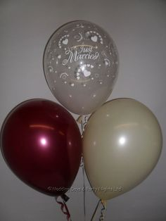 30 Clear Just Married & Heart Burgundy Ivory Helium Balloons Wedding Decorations