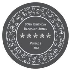 80th Birthday Party White/Black Round Pattern Round Paper Coaster - party gifts gift ideas diy customize