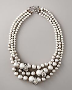Alexis Bittar  Triple-Strand Pearl Necklace, gray