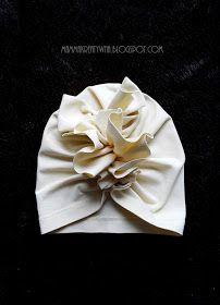 Mama Kreatywna: DIY: czapka turban z falbanką Baby Turban, Turban Hat, Turban Headbands, Baby Patterns, Sewing Patterns, Turban Headband Tutorial, Baby Sewing, Wedding Nails, Baby Hats