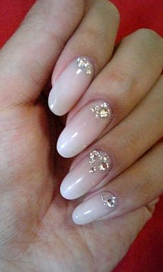 gradient opaque white oval nails
