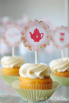 Tea Party Cupcake Toppers - for purchase from Twindle Little Party on Etsy
